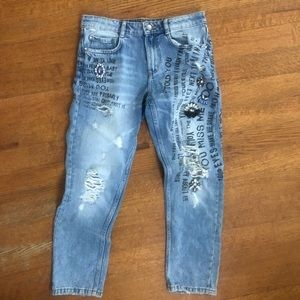 Zara embellished jeans size 2